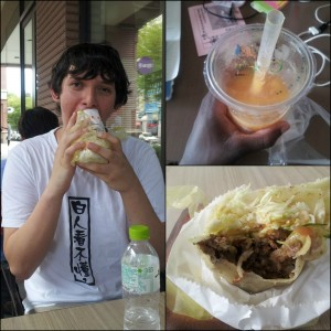 My food buddy, Aaron, and I tried this burrito! 很好吃! AND the mango smoothie that didn't last long...hehe